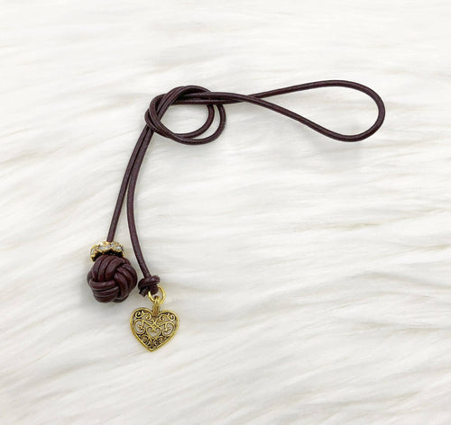 Monkey Fist Knot Leather Bookmark with Gold Heart Charm