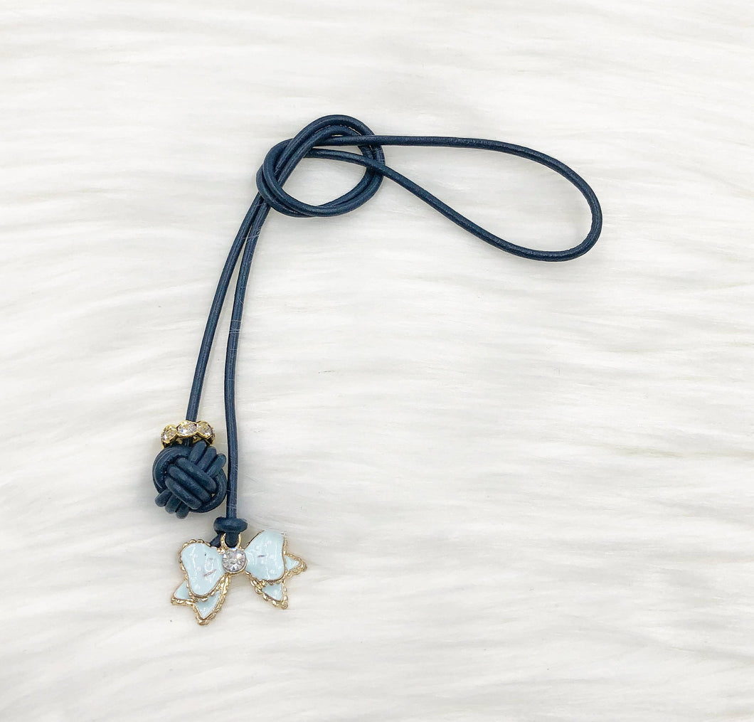 Monkey Fist Knot Leather Bookmark with Blue Enamel Bow Charm