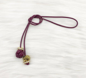 Monkey Fist Knot Leather Bookmark with Gold Elephant Charm