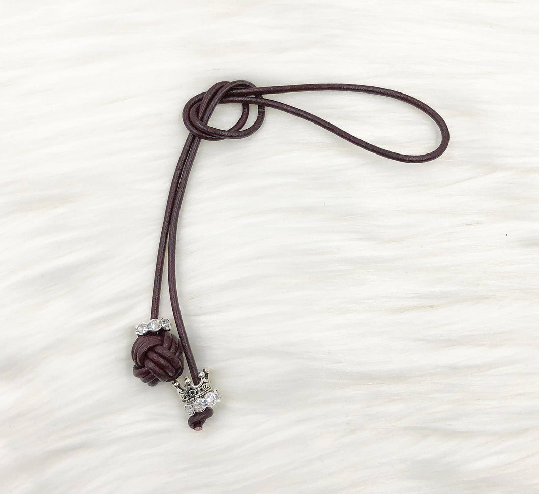Monkey Fist Knot Leather Bookmark with Silver Queen Crown Charm