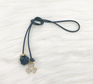 Monkey Fist Knot Leather Bookmark with Gold Rhinestone Clover Charm