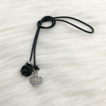 Monkey Fist Knot Leather Bookmark with Silver Rhinestone Crown Charm