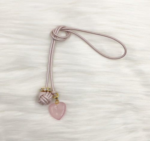 Monkey Fist Knot Leather Bookmark with Rose Quartz Heart Charm