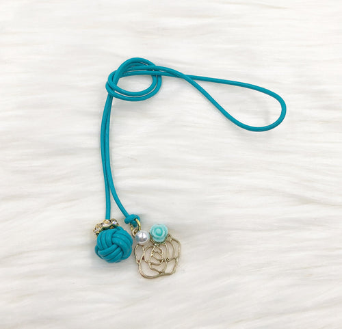 Monkey Fist Knot Leather Bookmark with Gold Rose and Mint Rosette Charm