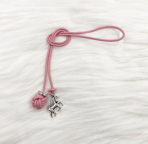 Monkey Fist Knot Leather Bookmark with Silver Unicorn Charm