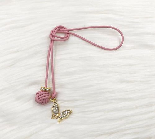 Monkey Fist Knot Leather Bookmark with Gold Rhinestone Butterfly Charm