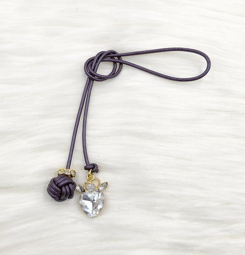 Monkey Fist Knot Leather Bookmark with Gold Crystal Heart Charm