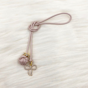 Monkey Fist Knot Leather Bookmark with Gold Rhinestone Bow Charm