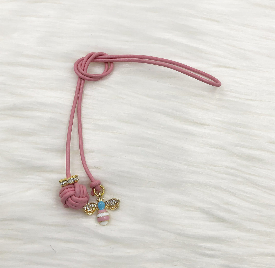 Monkey Fist Knot Leather Bookmark with Gold Enamel Bee Charm