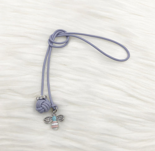 Monkey Fist Knot Leather Bookmark with Silver Enamel Bee Charm