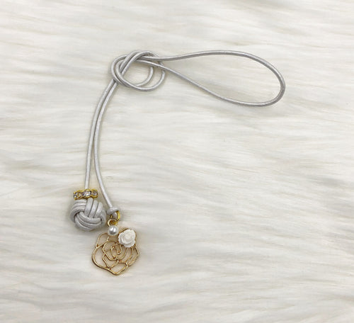 Monkey Fist Knot Leather Bookmark with Gold Rose and White Rosette Charm