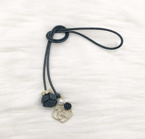 Monkey Fist Knot Leather Bookmark with Gold Rose and Black Rosette Charm