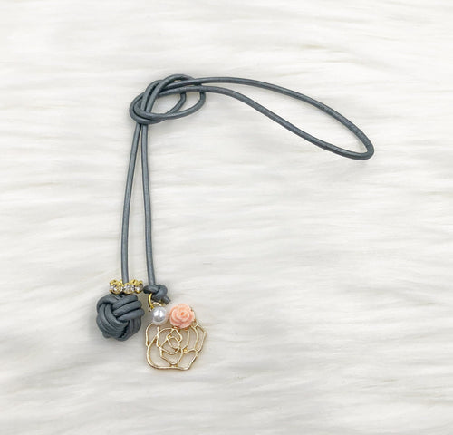 Monkey Fist Knot Leather Bookmark with Gold Rose and Peach Rosette Charm