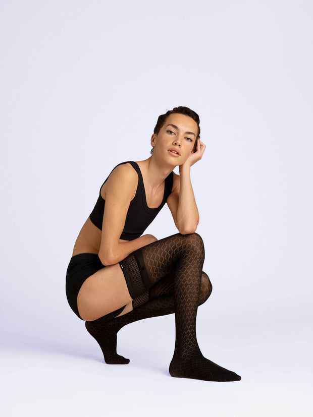 Latticed Semi-Opaque Thigh Highs - Sheertex