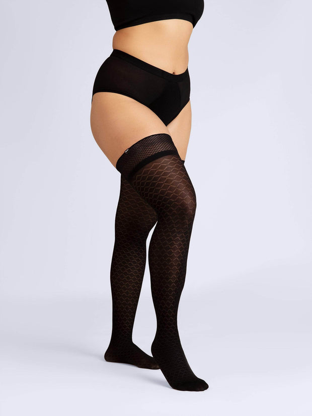Latticed Semi-Opaque Thigh Highs X-Large / Single / Black - Sheertex