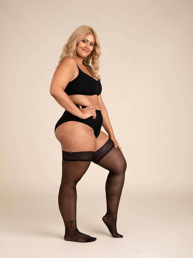 Ultrasheer Thigh Highs 2X-Large / Single / Black - Sheertex