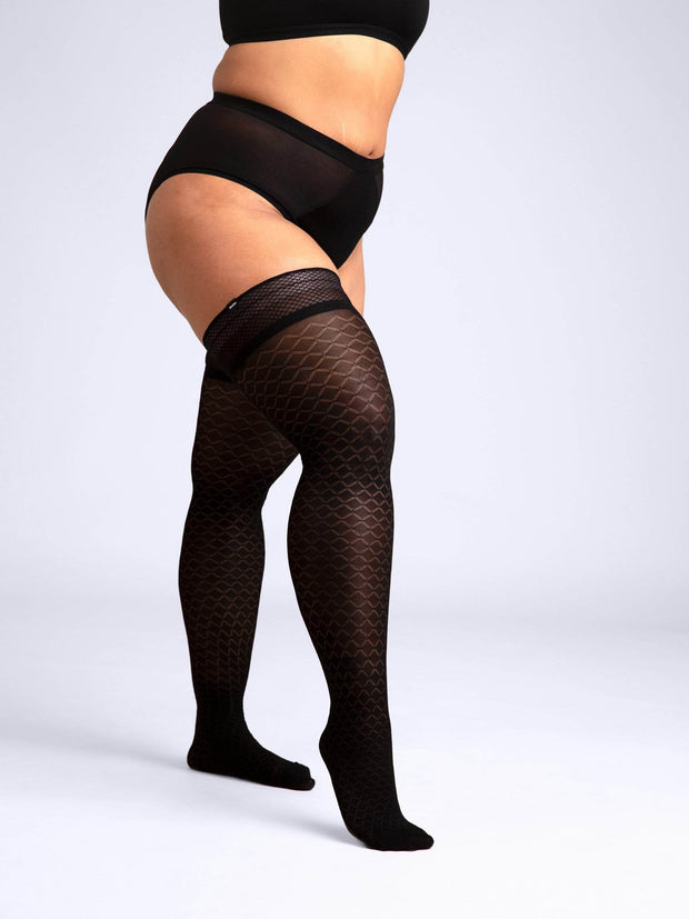 Latticed Semi-Opaque Thigh Highs 2X-Large / Single / Black - Sheertex