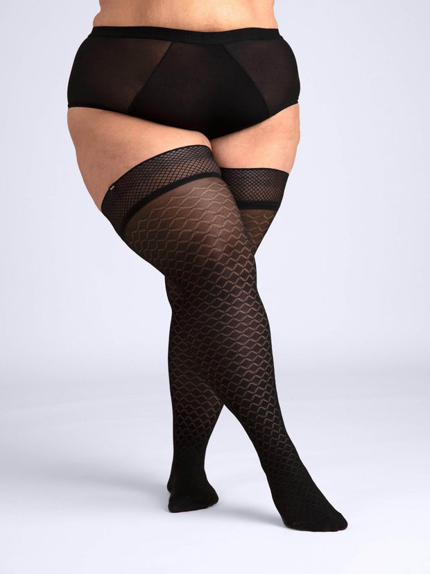 Latticed Semi-Opaque Thigh Highs 3X-Large / Single / Black - Sheertex