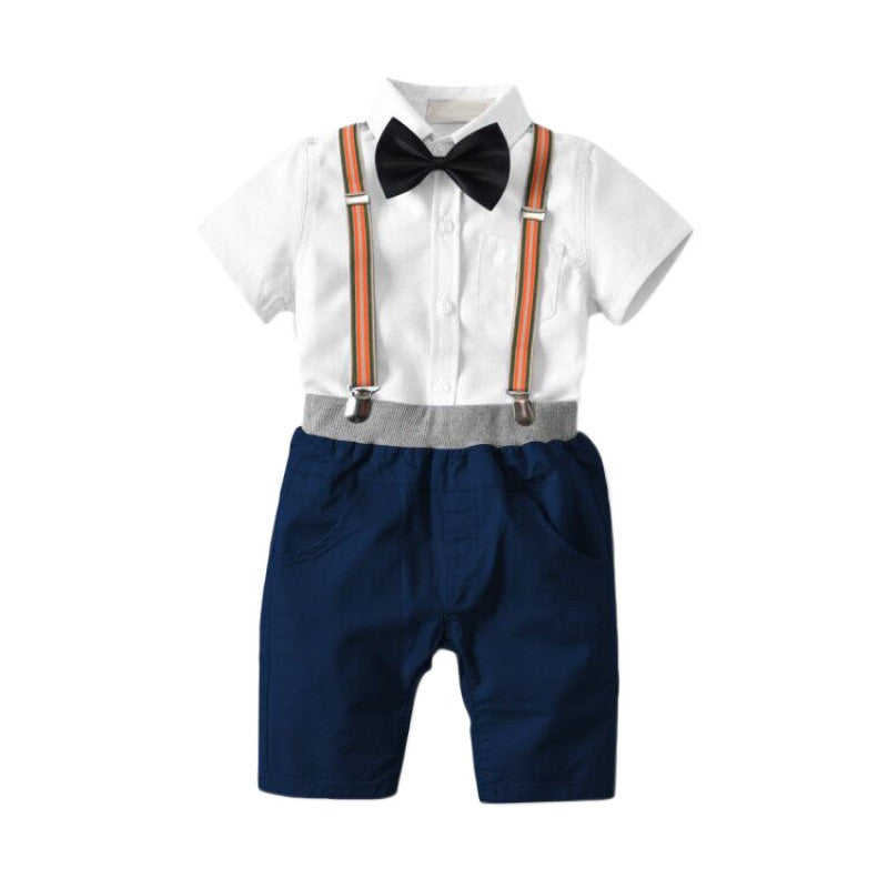 71ad4390ced Baby Clothes Set New Children Bow Tie Gentleman Four-Piece Set  Strap+Shorts+Shirt+Bow Tie Suit Baby Boys Clothing 1-6Y