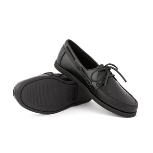 Dynamic Leather Boat Shoes | Black