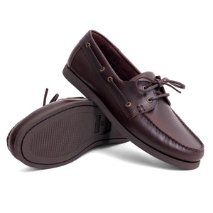 Men Leather Boat Shoes Dark Brown Mengloria