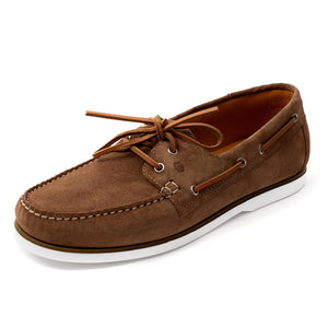 Men Suede Boat Shoes Beige Mengloria