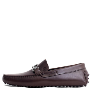 Men Leather Brown Metal Buckle Loafer Mengloria