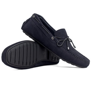 Men Nubuck Moccasin Dark Blue Loafer Mengloria