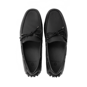 Men Tumbled Leather Driver Black Loafer Mengloria