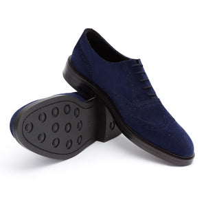 Kensington Suede Oxford Brogue Shoes | Dark Blue