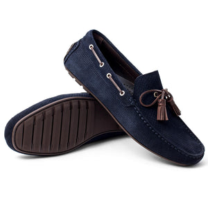 Men Suede With Tassels Moccasin Dark Blue Loafer Mengloria