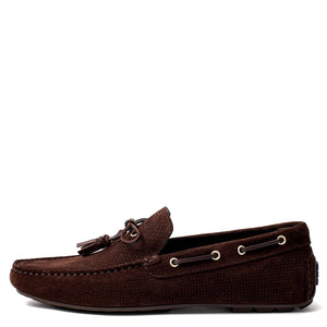 Men Suede With Tassels Moccasin Dark Brown Loafer Mengloria