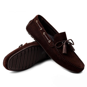Prominence Suede With Tassels Moccasin | Dark Brown