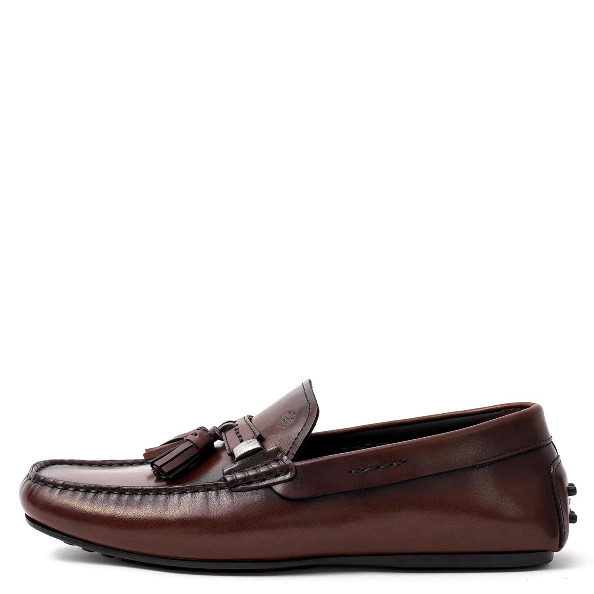 5d4a6e8dc82 Men Brown Leather With Tassels Moccasin Loafer