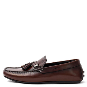 Men Brown Leather With Tassels Moccasin Loafer