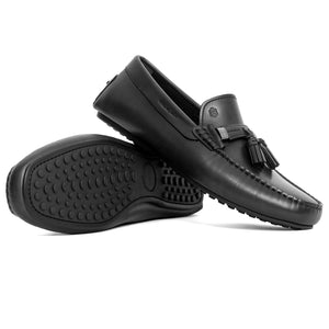 Men Leather With Tassels Moccasin Black Loafer