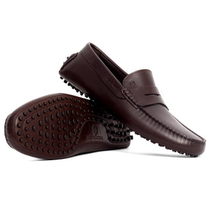 Men Leather Driving Shoe Brown Loafer Mengloria