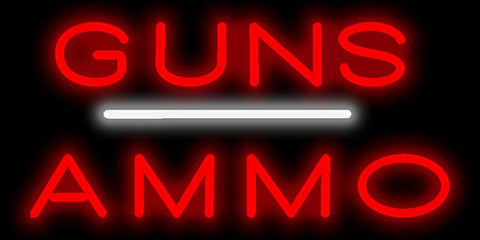 Guns Ammo Neon Sign