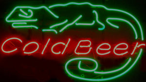 Cold Beer Lizard Neon Bar Sign