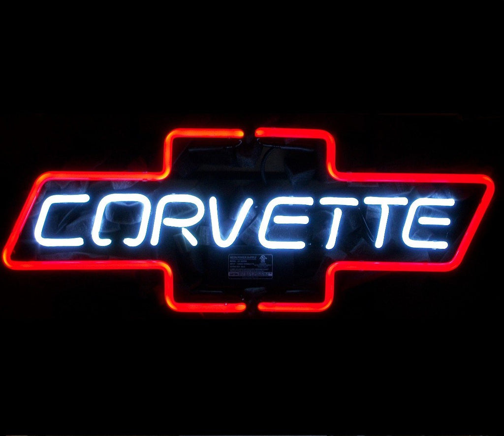 Corvette Bowtie Red Neon Bar Sign