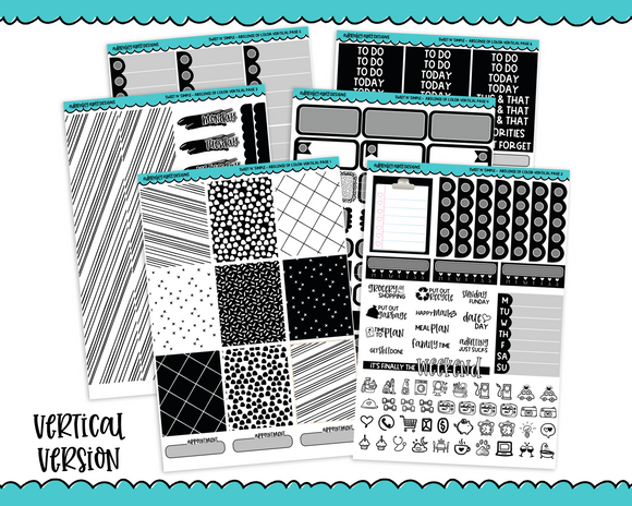 Vertical Sweet n Simple Absence of Color Black and White Patterns Planner Sticker Kit for Erin Condren, Happy Planner or Any Other Planner - Adorably Amy Designs