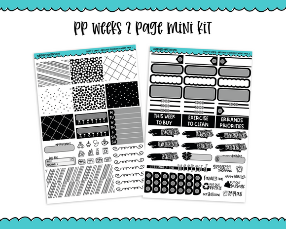 PP Weeks Sweet n Simple Absence of Color Black and White Patterns Weekly Kit sized for PP Weeks Planner or ANY Vertical Insert - Adorably Amy Designs