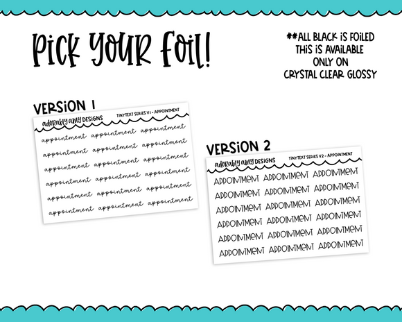 Foiled Tiny Text Series -   Appointment Checklist Size Planner Stickers for any Planner or Insert