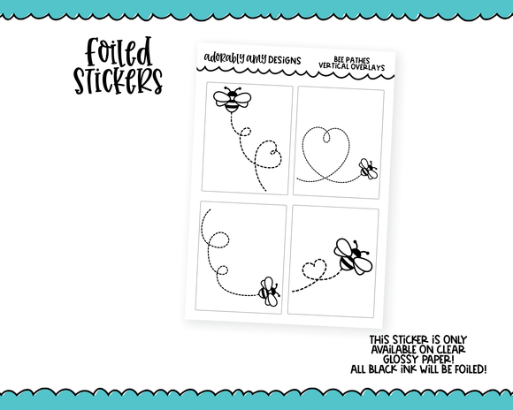 Foiled Clear Full Box Overlay Bee Paths Borders Horizontal, Vertical or PP Weeks Sized Planner Stickers for Erin Condren, Plum Planner, Happy Planner, TN, PP Weeks or Any Size Planners