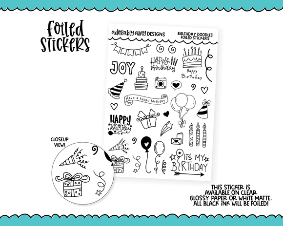 Foiled Doodled Happy Birthday Sampler Planner Stickers for any Planner or Insert