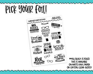 Foiled Book Lover Typography Planner Stickers for any Planner or Insert - Adorably Amy Designs