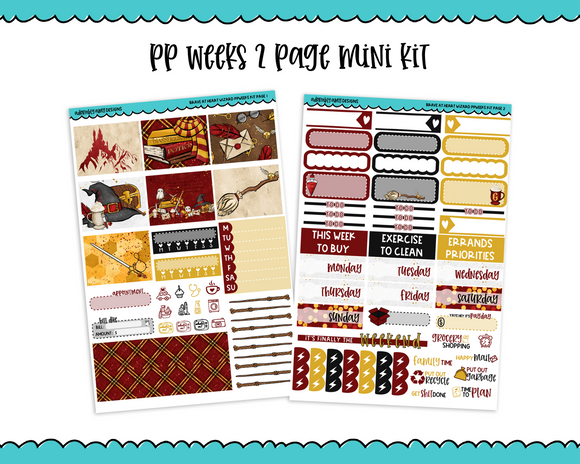 PP Weeks Brave at Heart Wizard Magic Wizarding World Themed Weekly Kit sized for PP Weeks Planner or ANY Vertical Insert