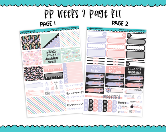 PP Weeks Sweet n Simple Butterfly Kisses Patterns Weekly Kit sized for PP Weeks Planner or ANY Vertical Insert - Adorably Amy Designs