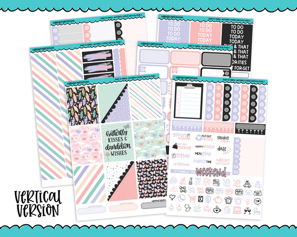 Vertical Sweet n Simple Butterfly Kisses Patterns Planner Sticker Kit for Vertical Standard Size Planners or Inserts - Adorably Amy Designs