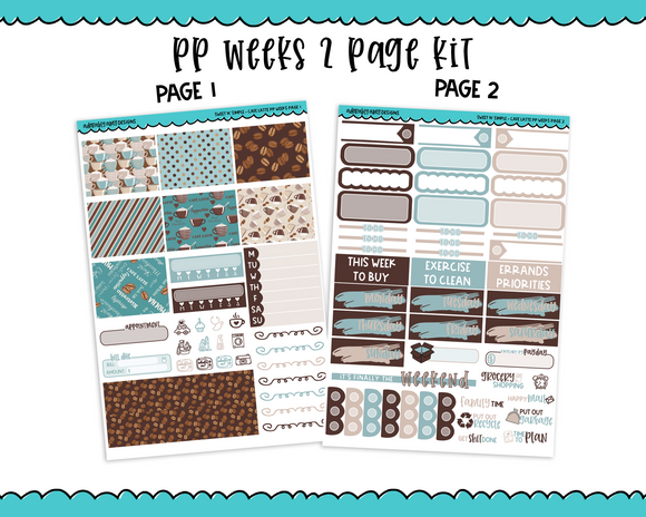 PP Weeks Sweet n Simple Cafe Latte Weekly Kit sized for PP Weeks Planner or ANY Vertical Insert - Adorably Amy Designs